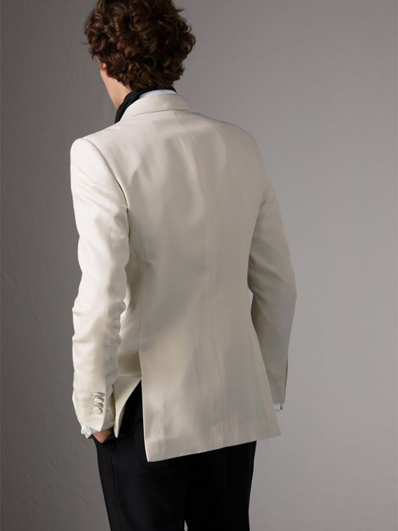 Slim Fit Silk Evening Jacket in Off White - Men | Burberry - cell image 2