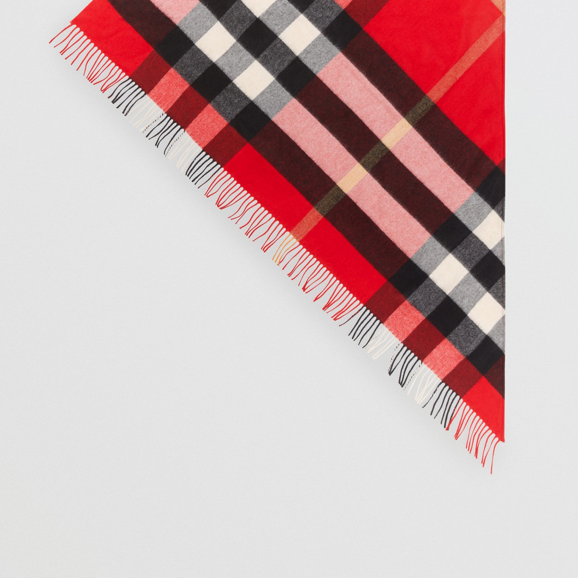 The Burberry Bandana in Check Cashmere in Bright Military Red | Burberry United Kingdom - gallery image 4