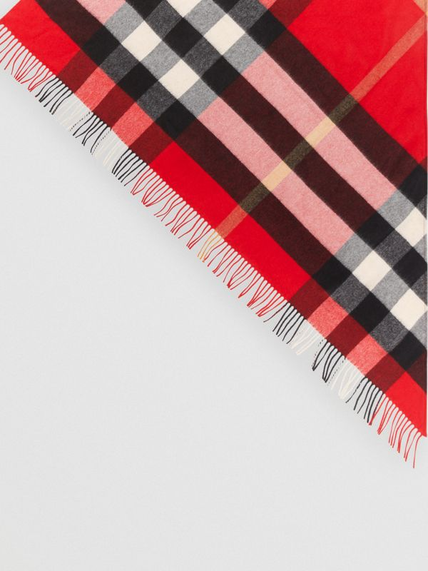 The Burberry Bandana in Check Cashmere in Bright Military Red | Burberry Hong Kong - cell image 3