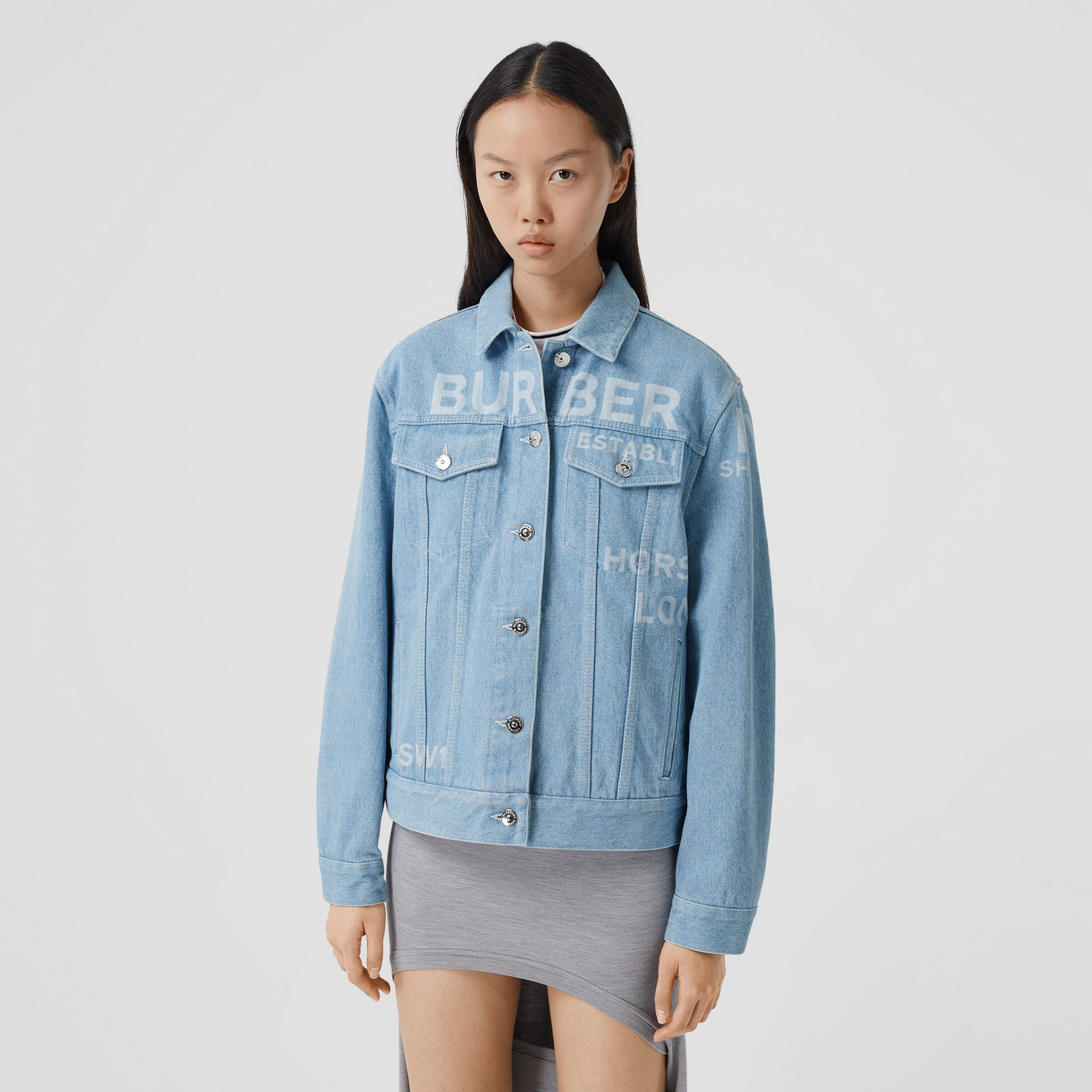 Horseferry Print Bleached Denim Jacket in Light Indigo - Women | Burberry - 1
