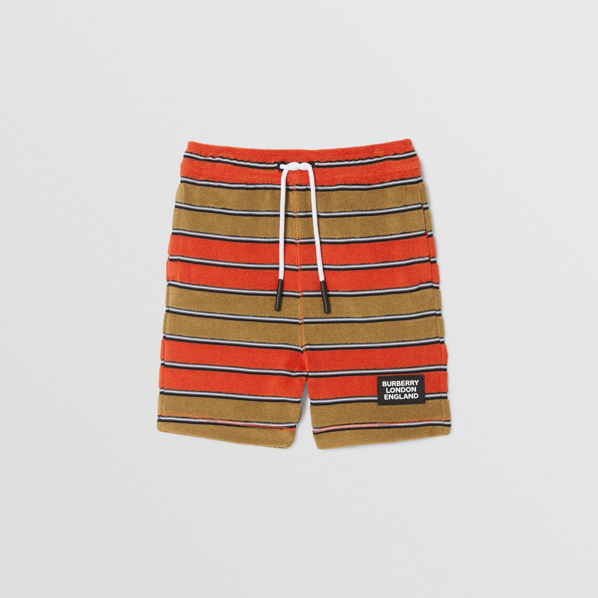 Logo Appliqué Striped Towelling Shorts in Vermilion Red - Children | Burberry Hong Kong S.A.R - gallery image 0