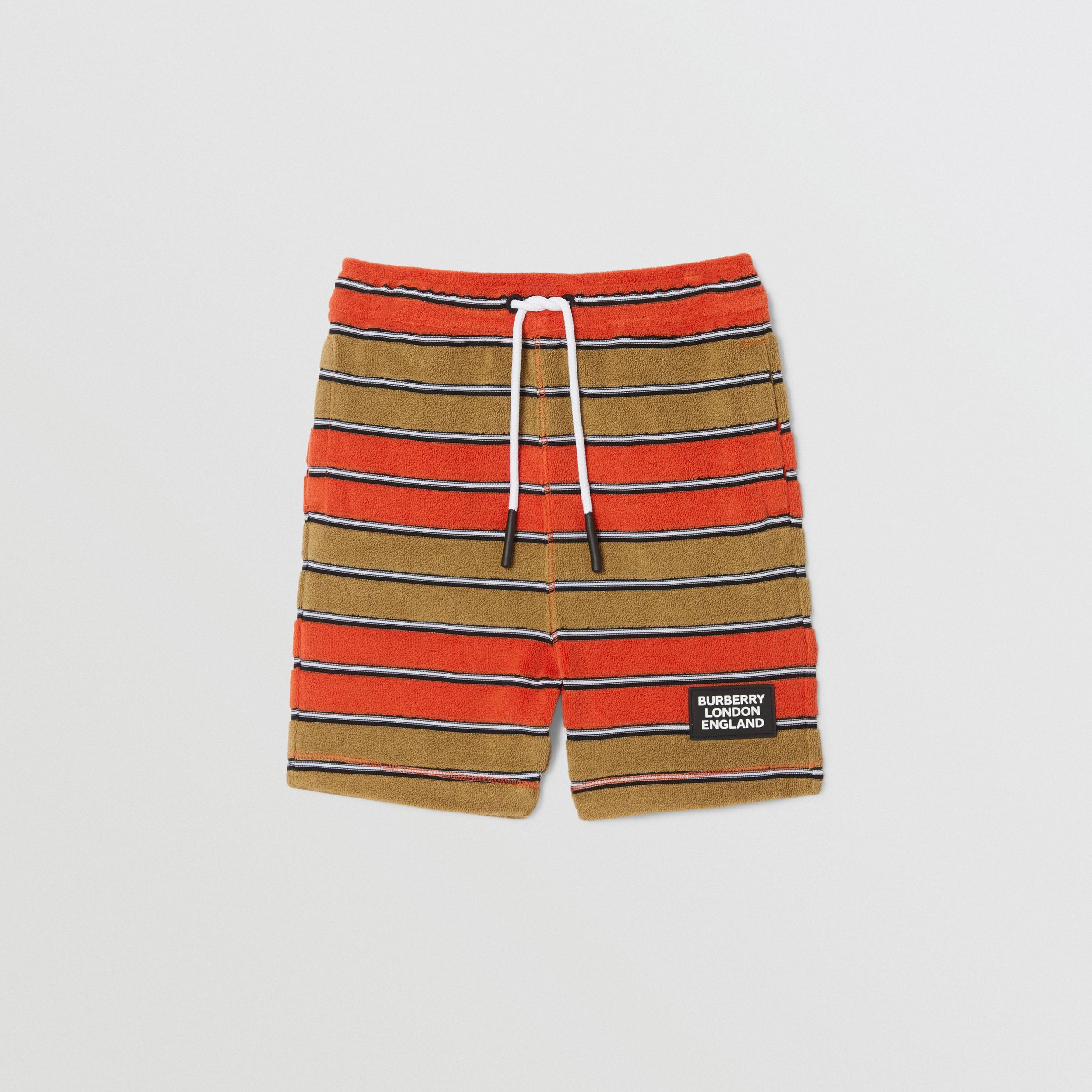 Logo Appliqué Striped Towelling Shorts in Vermilion Red - Children | Burberry - 1