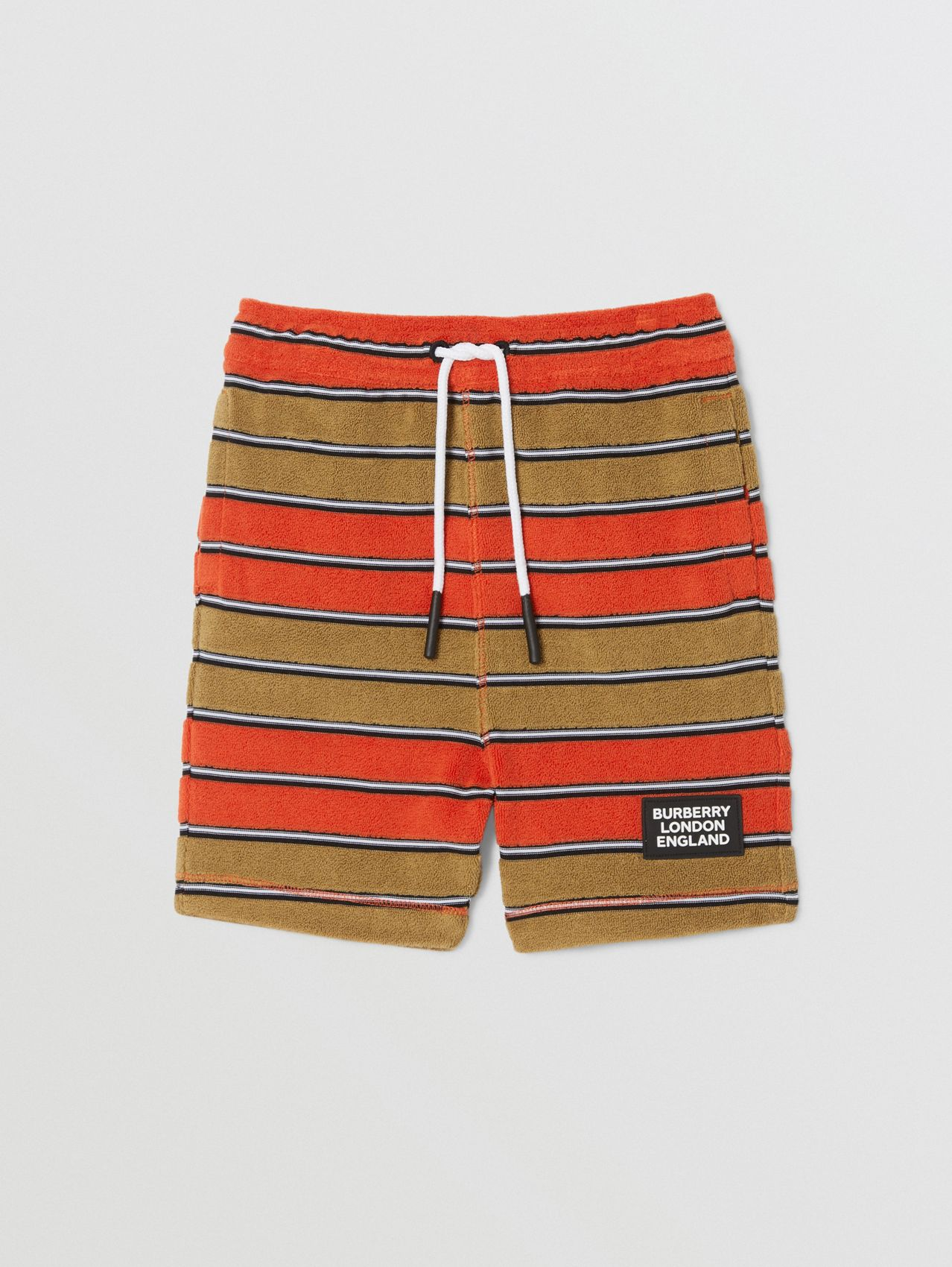 Logo Appliqué Striped Towelling Shorts in Vermilion Red
