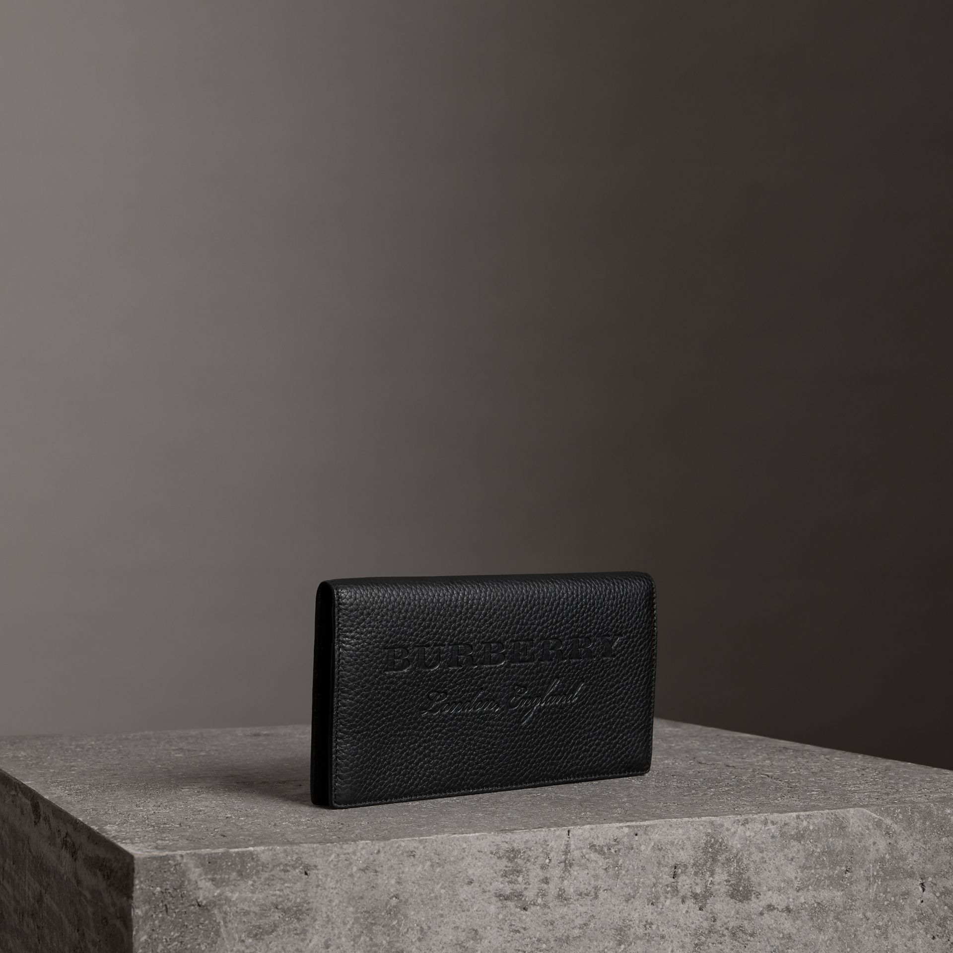 Embossed Leather Continental Wallet in Black - Women | Burberry Australia - gallery image 0