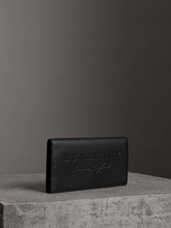 Embossed Leather Continental Wallet in Black