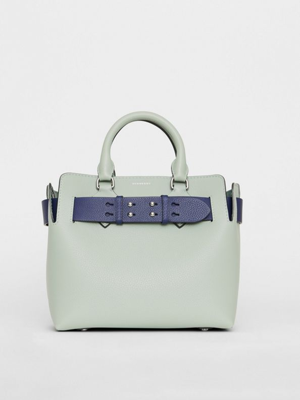 The Small Leather Belt Bag in Grey Blue
