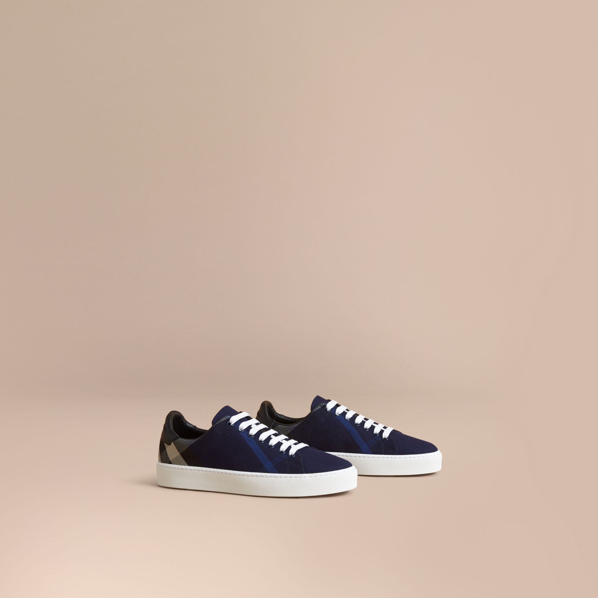 Overdyed House Check and Leather Trainers in Indigo Blue - Women | Burberry - gallery image 1