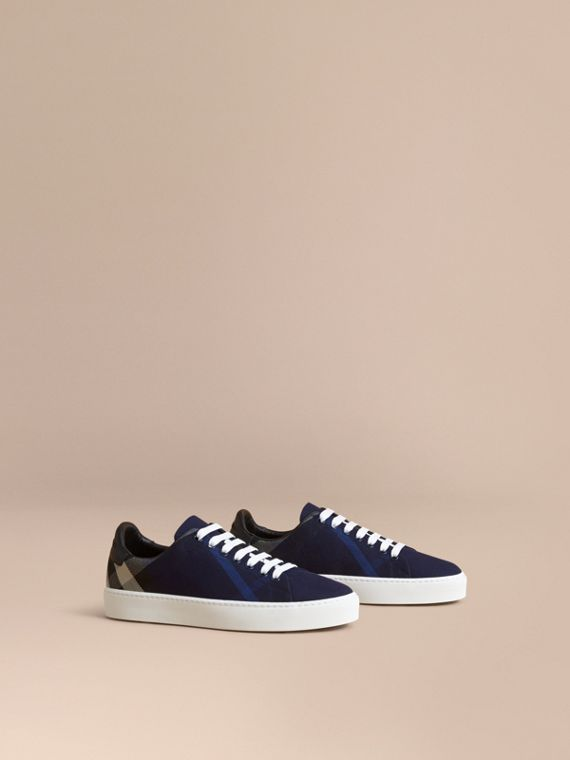 Overdyed House Check and Leather Trainers in Indigo Blue