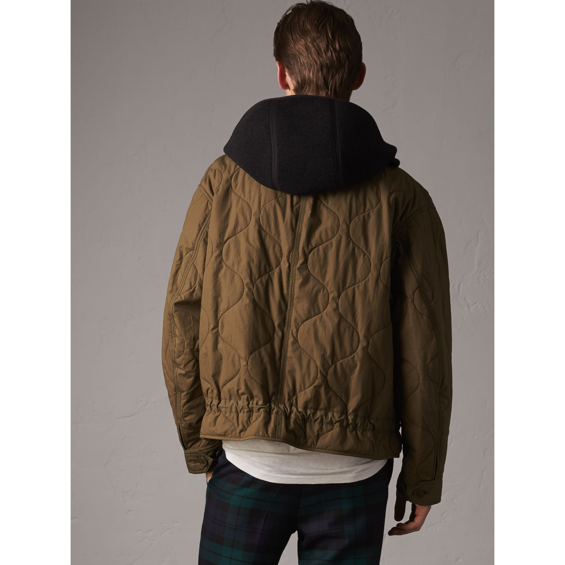 Detachable Hood Quilted Cotton Bomber Jacket in Olive Green - Men | Burberry Hong Kong - gallery image 3