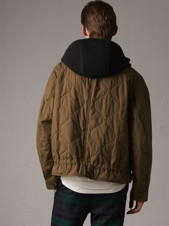 Detachable Hood Quilted Cotton Bomber Jacket in Olive Green - Men | Burberry - cell image 2