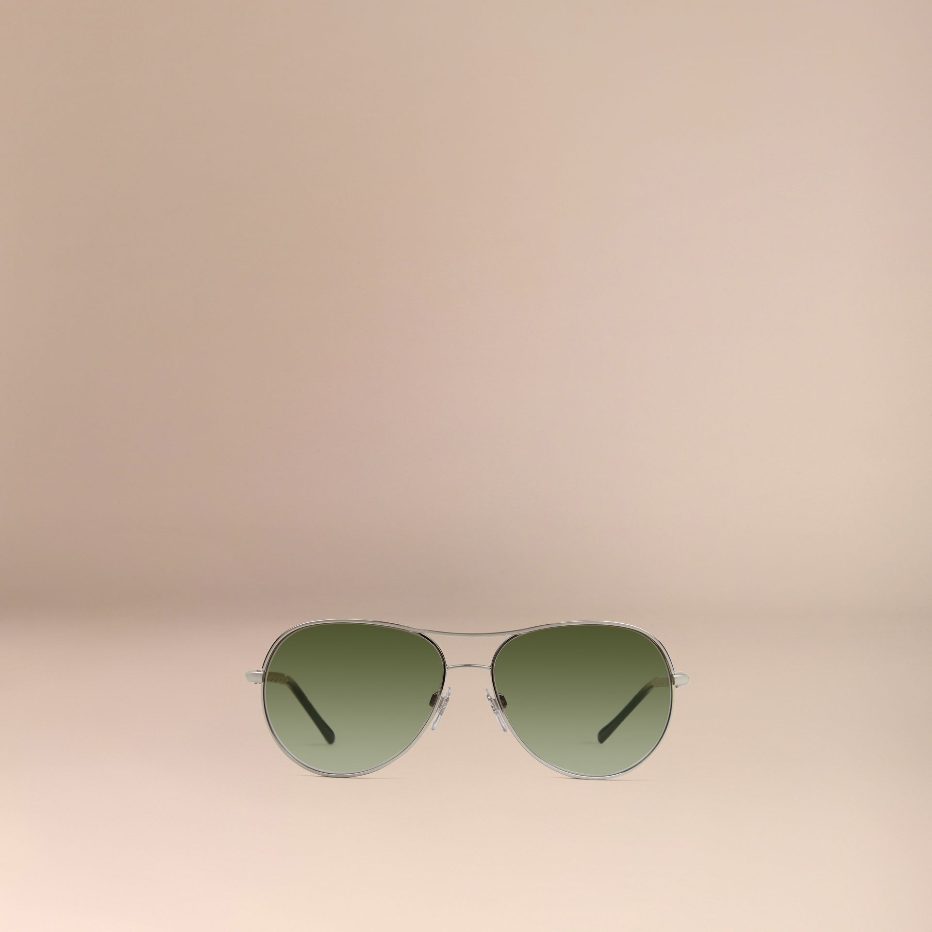 Silver Gabardine Collection Aviator Sunglasses Silver - gallery image 2