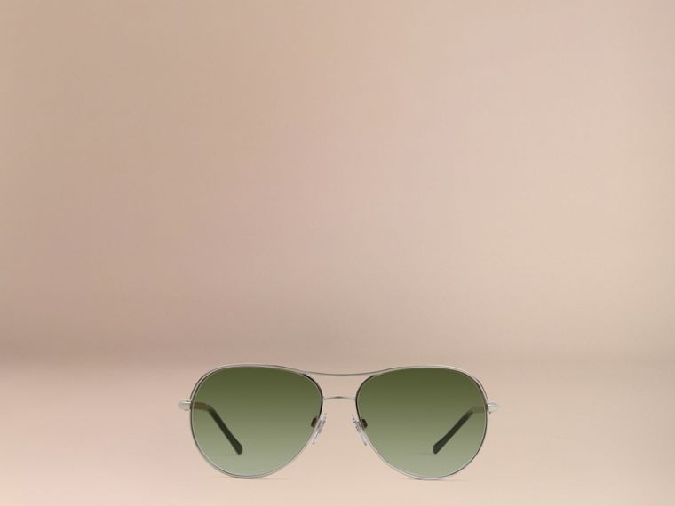Silver Gabardine Collection Aviator Sunglasses Silver - cell image 1