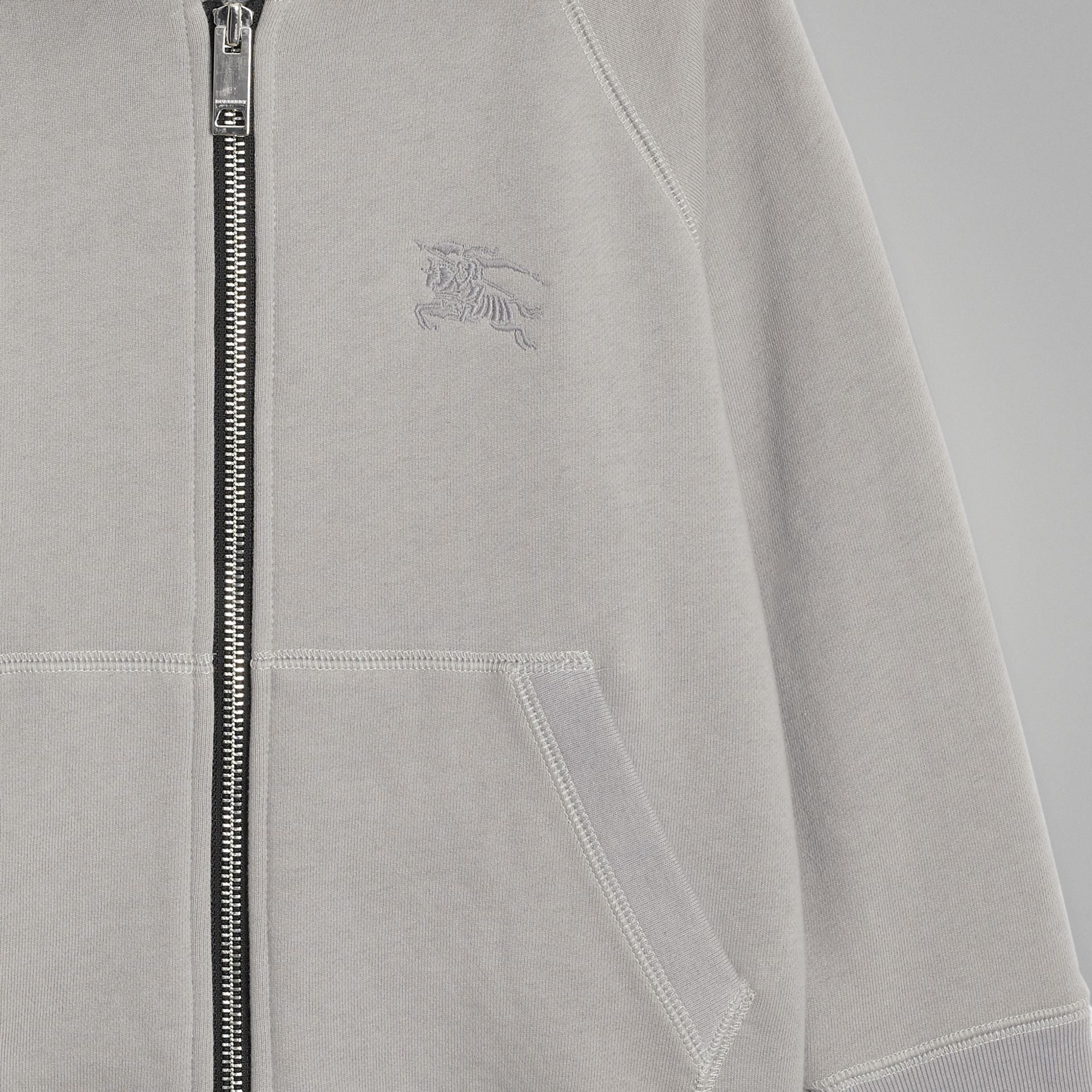 Cotton Jersey Hooded Top in Chalk Grey Melange | Burberry United Kingdom - gallery image 4