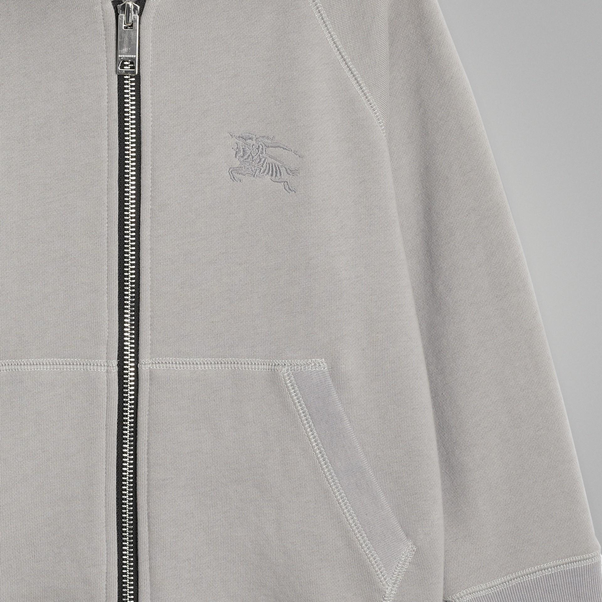 Cotton Jersey Hooded Top in Chalk Grey Melange | Burberry Australia - gallery image 4