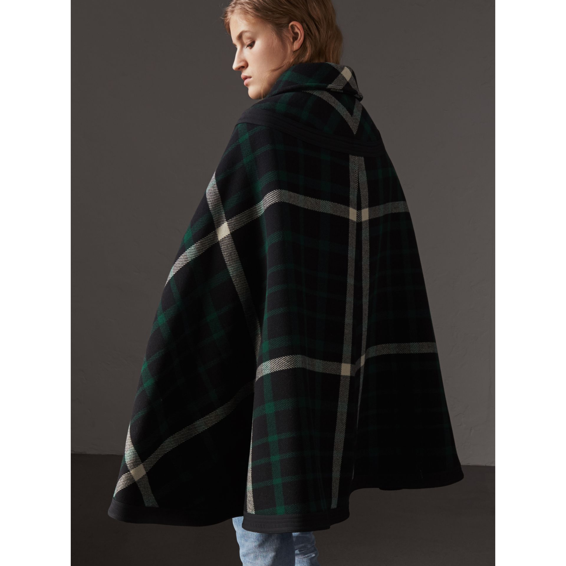 Exploded Tartan Wool Cape in Black/black - Women | Burberry - gallery image 3
