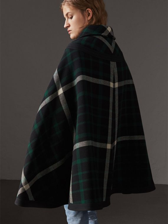 Exploded Tartan Wool Cape in Black/black - Women | Burberry - cell image 2