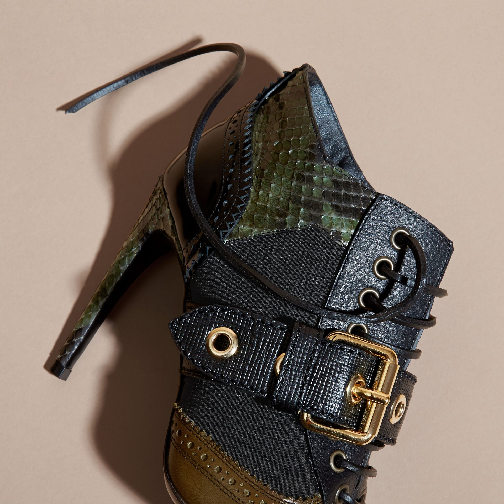 Buckle Detail Leather and Snakeskin Ankle Boots Military Olive - gallery image 2
