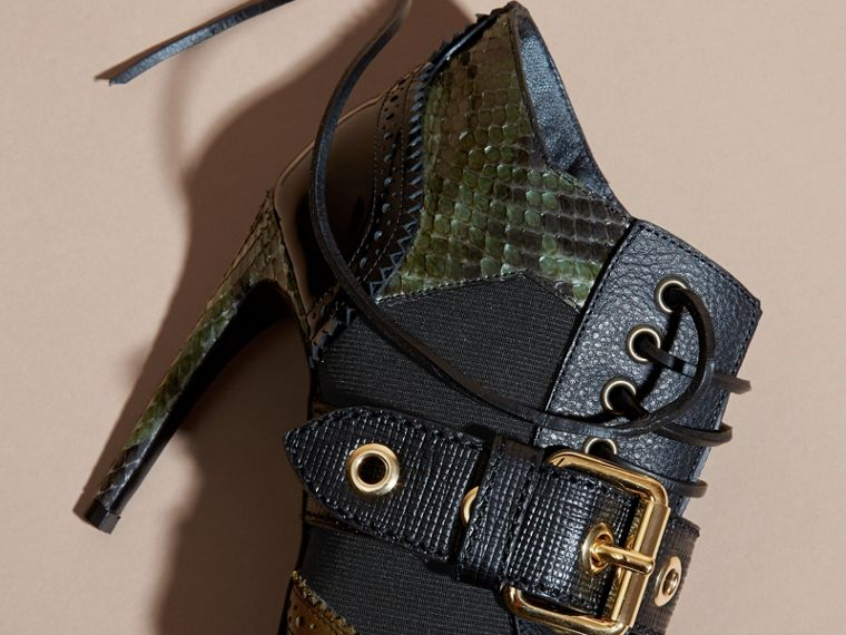 Buckle Detail Leather and Snakeskin Ankle Boots Military Olive - cell image 1