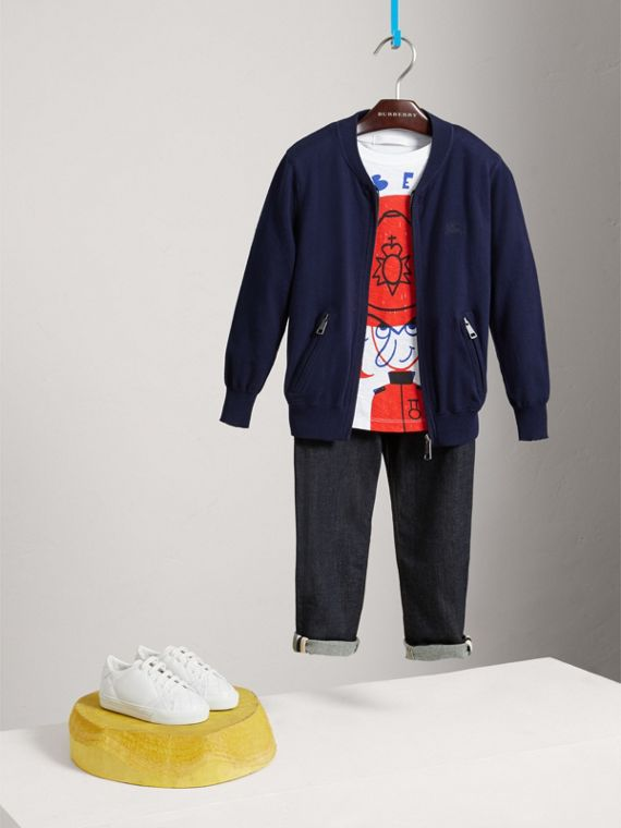 Check Elbow Patch Bomber Cardigan in Navy - Boy | Burberry Canada - cell image 2
