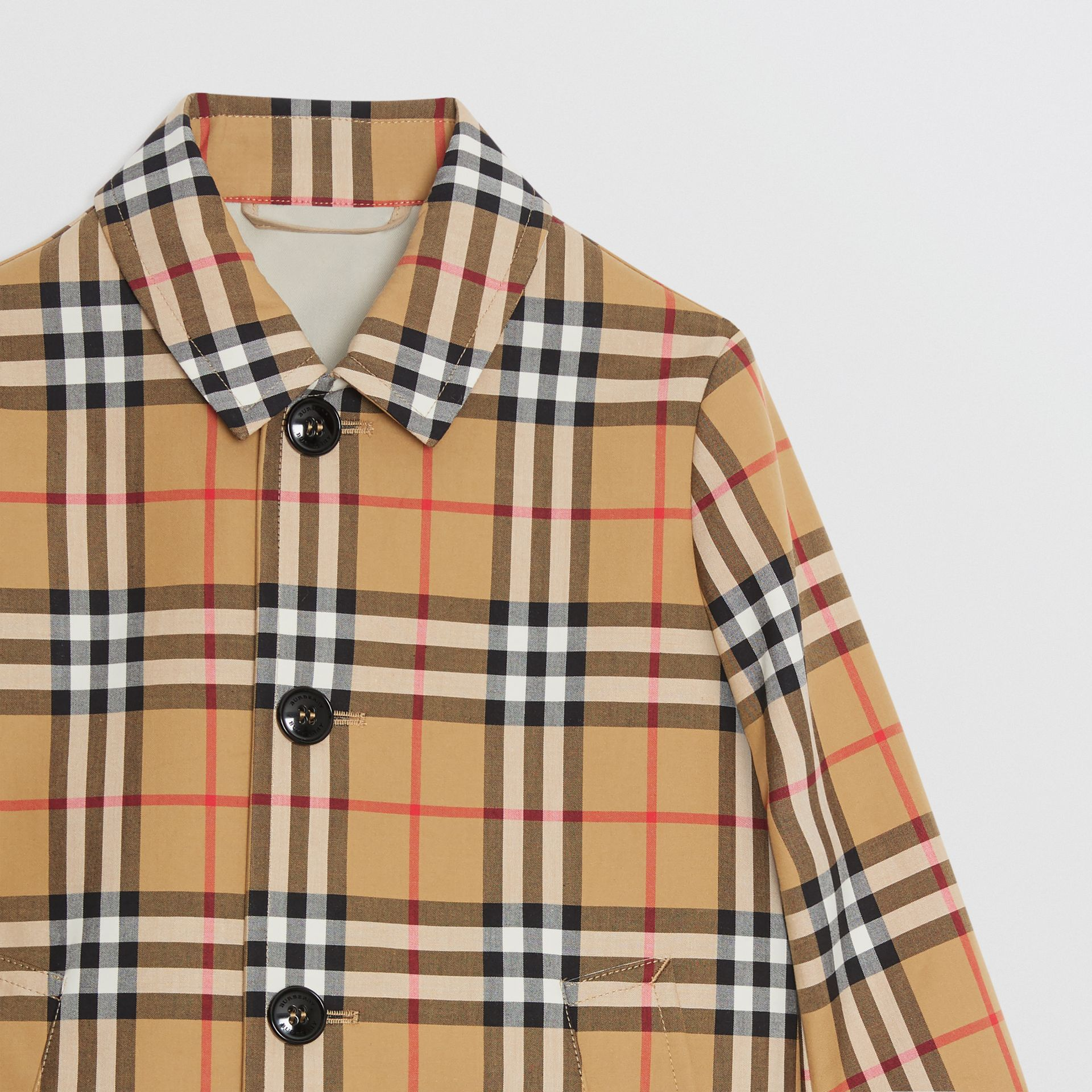 Vintage Check Cotton Car Coat in Antique Yellow - Boy | Burberry - gallery image 4