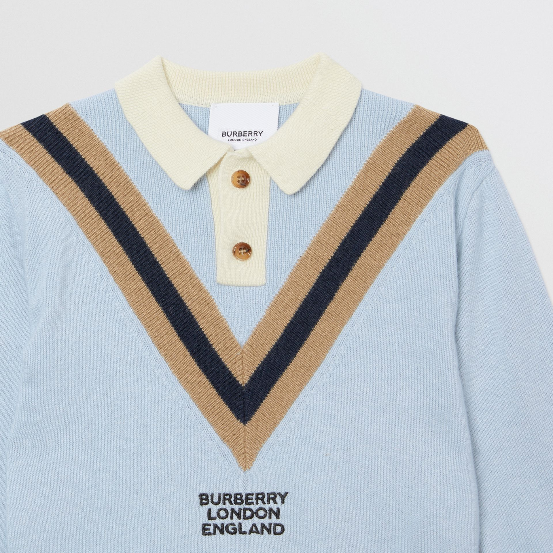 Long-sleeve Knit Cashmere Cotton Polo Shirt in Light Blue - Children | Burberry - gallery image 3