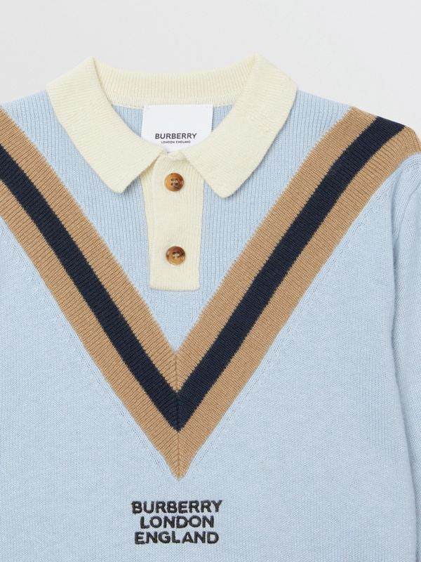 Long-sleeve Knit Cashmere Cotton Polo Shirt in Light Blue - Children | Burberry - cell image 3