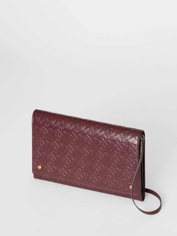 Small Monogram Leather Bag with Detachable Strap in Oxblood - Women | Burberry - cell image 2