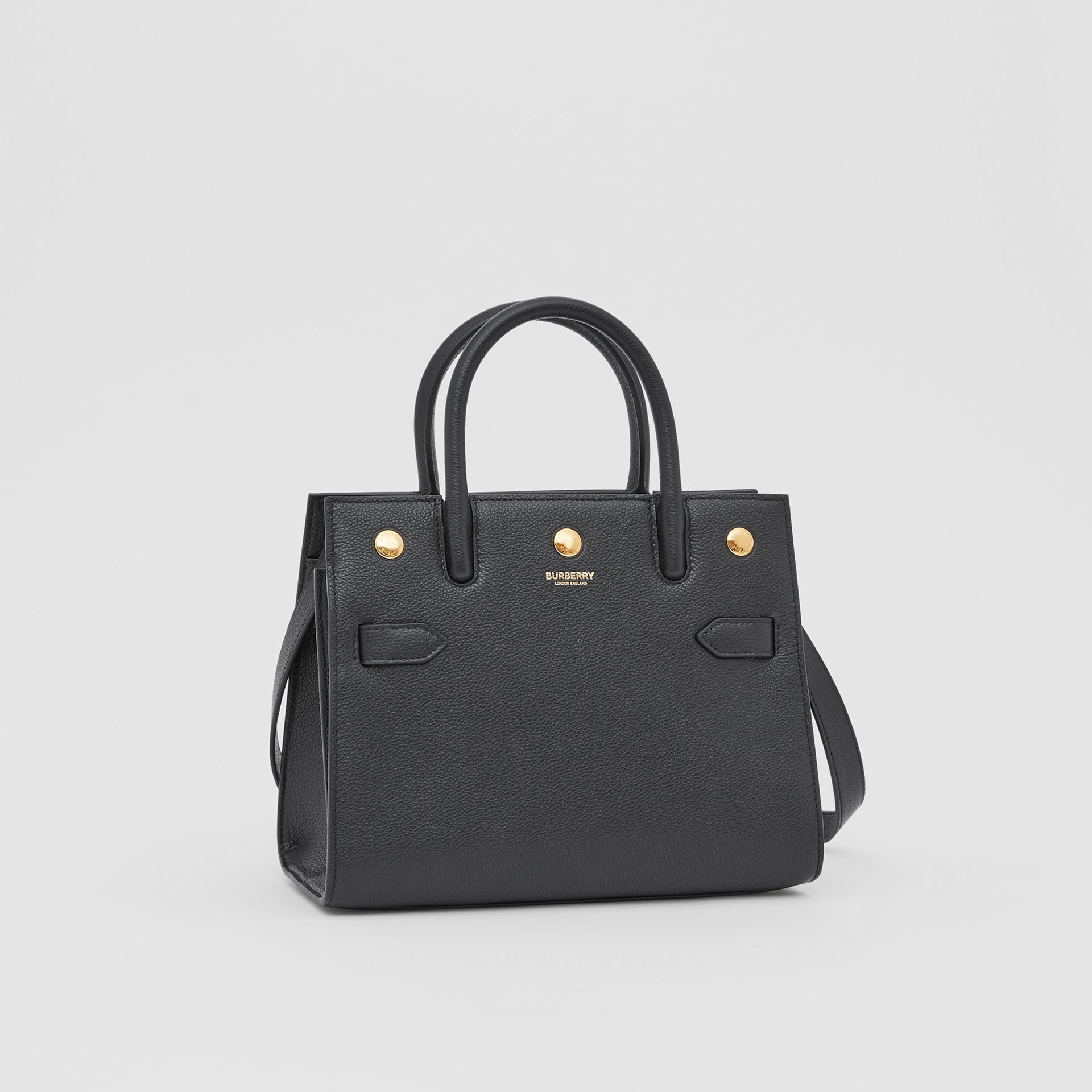 Mini Leather Two-handle Title Bag in Black - Women | Burberry - gallery image 6