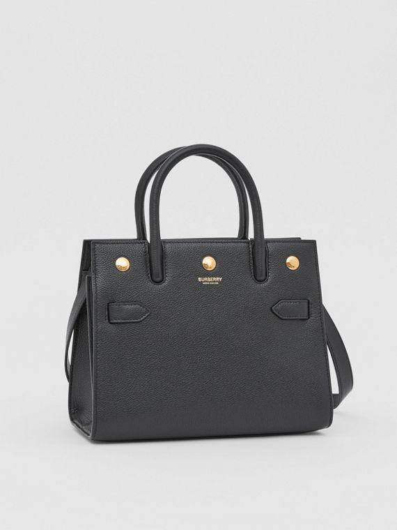 Borsa Title mini in pelle con due manici (Nero)