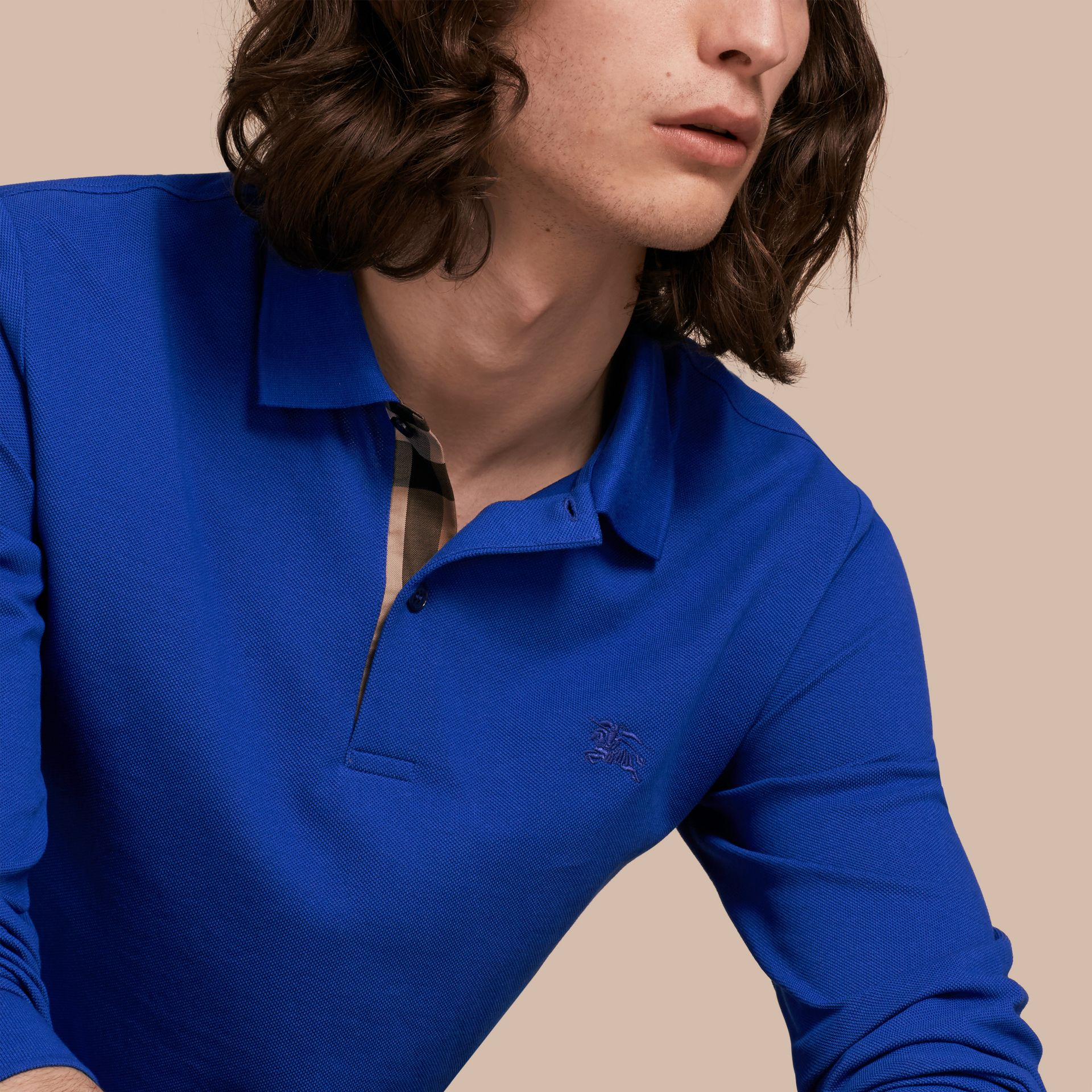 Check Placket Long Sleeve Polo Shirt Brilliant Blue - gallery image 5