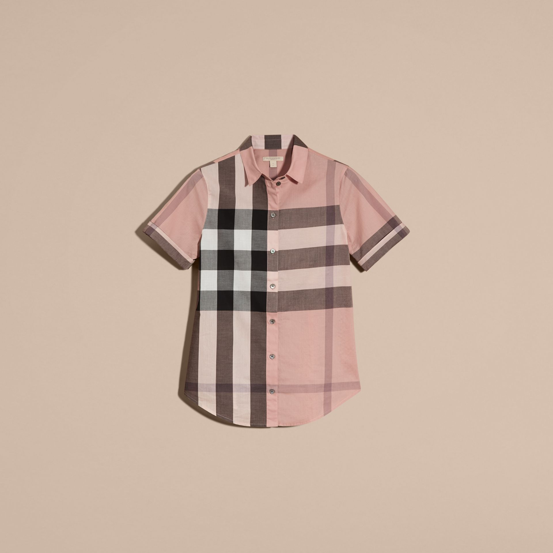 Antique pink Short-sleeved Check Cotton Shirt Antique Pink - gallery image 4