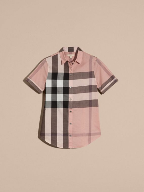 Antique pink Short-sleeved Check Cotton Shirt Antique Pink - cell image 3