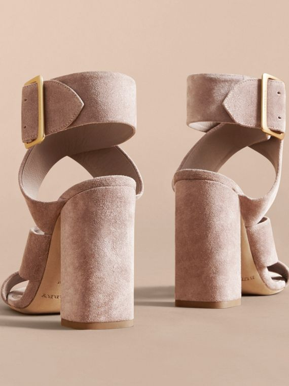 Buckle Detail Suede Crossover Strap Sandals in Ivory Pink - Women | Burberry - cell image 3