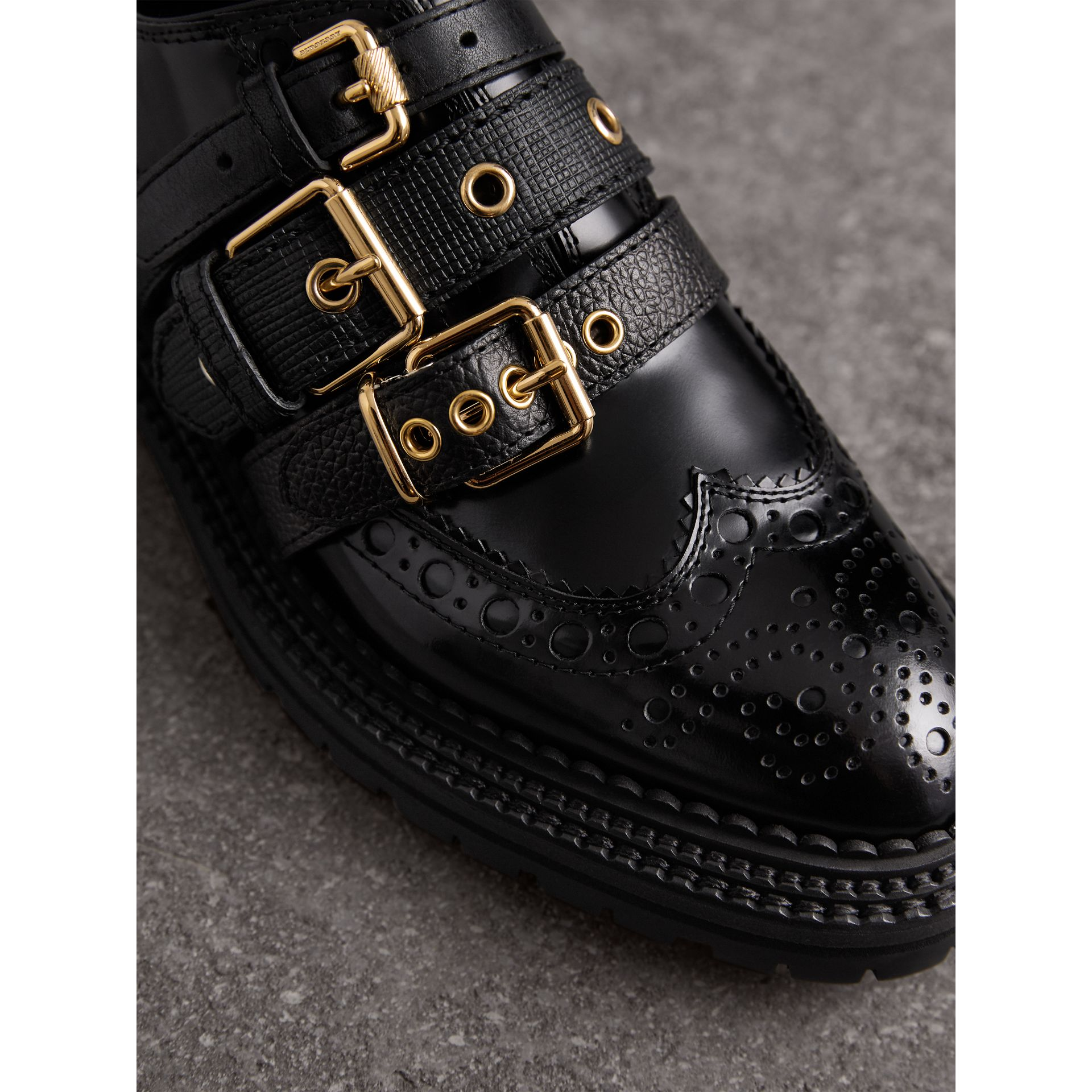 Buckled Polished Leather Brogues in Black - Women | Burberry - gallery image 2