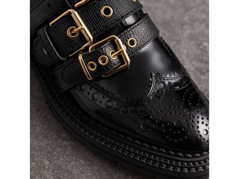 Buckled Polished Leather Brogues in Black - Women | Burberry - cell image 1