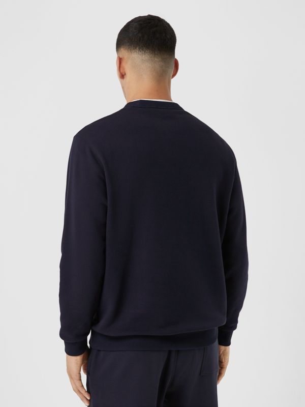 Contrast Logo Graphic Cotton Sweatshirt in Navy - Men | Burberry United Kingdom - cell image 2