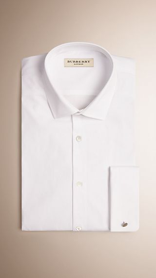 Modern Fit Double-cuff Stretch-cotton Shirt