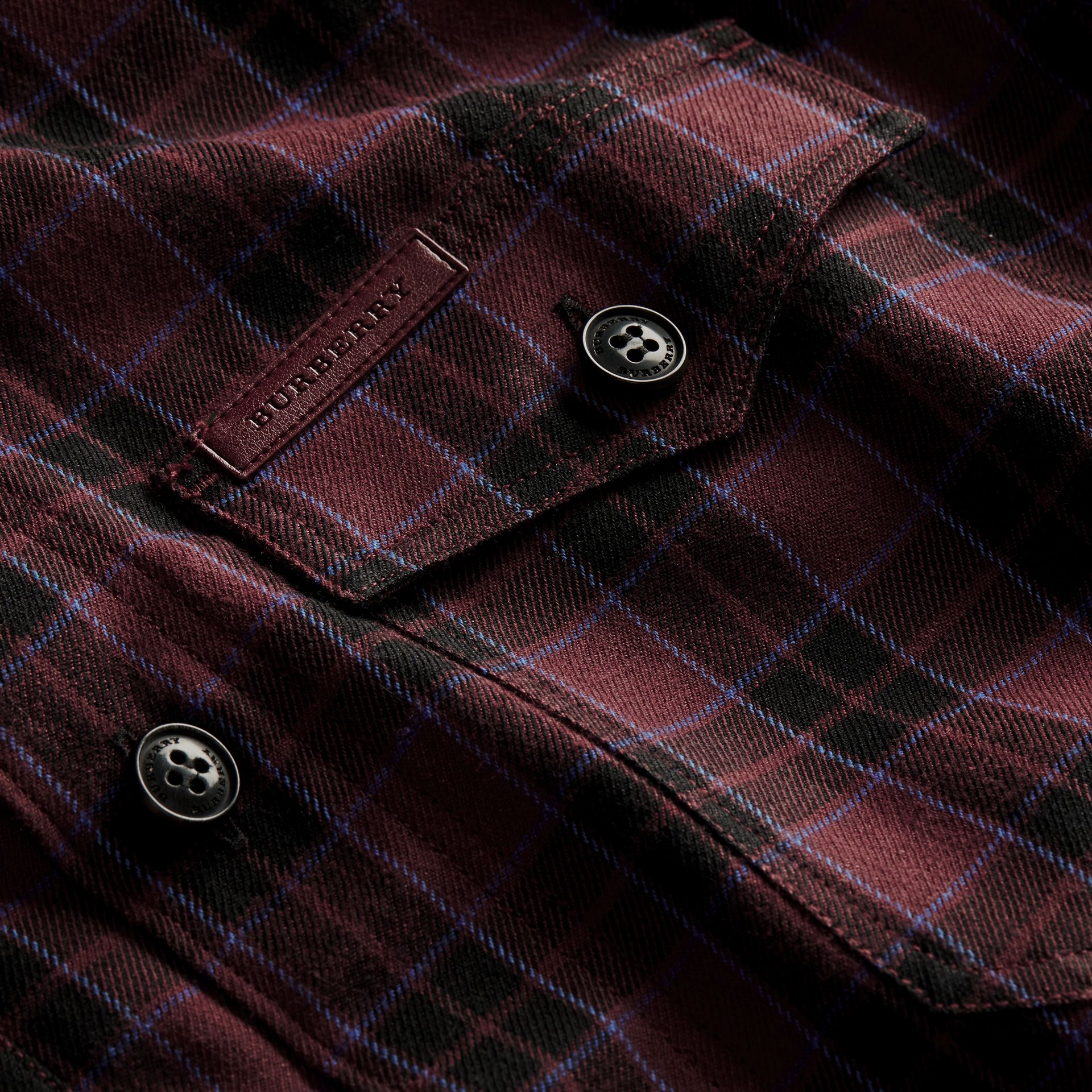 Burgundy red Black Watch Check Wool Blend Shirt Burgundy Red - gallery image 2