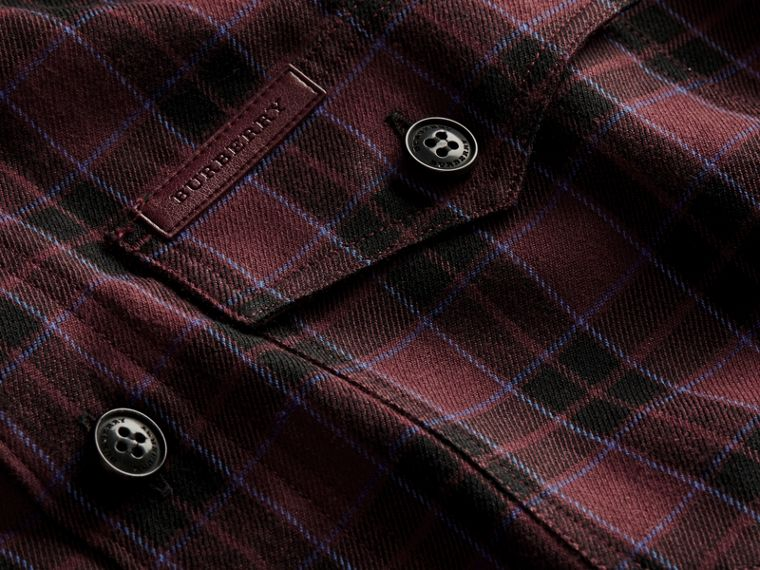 Burgundy red Black Watch Check Wool Blend Shirt Burgundy Red - cell image 1