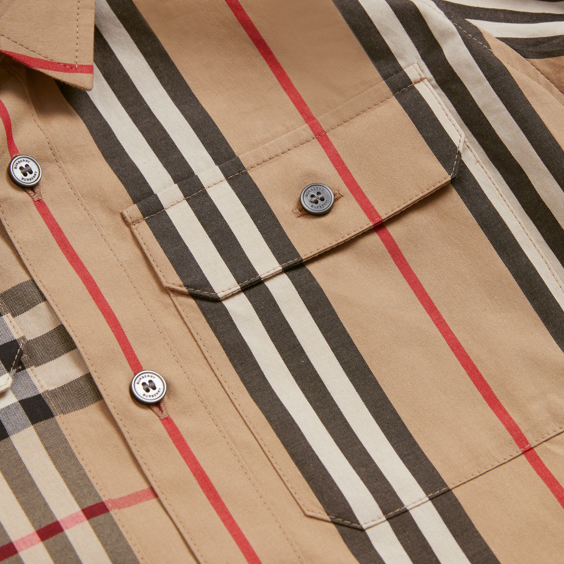 Panelled Vintage Check and Icon Stripe Cotton Shirt in Archive Beige | Burberry Australia - gallery image 1