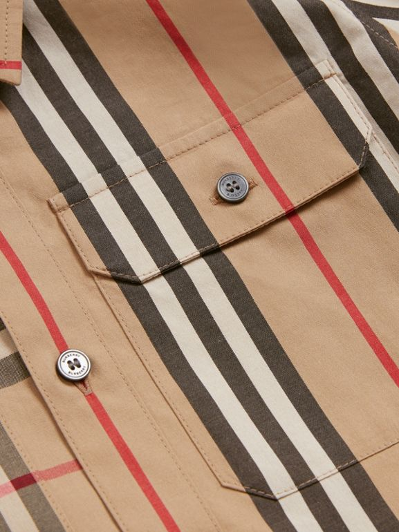 Panelled Vintage Check and Icon Stripe Cotton Shirt in Archive Beige | Burberry - cell image 1