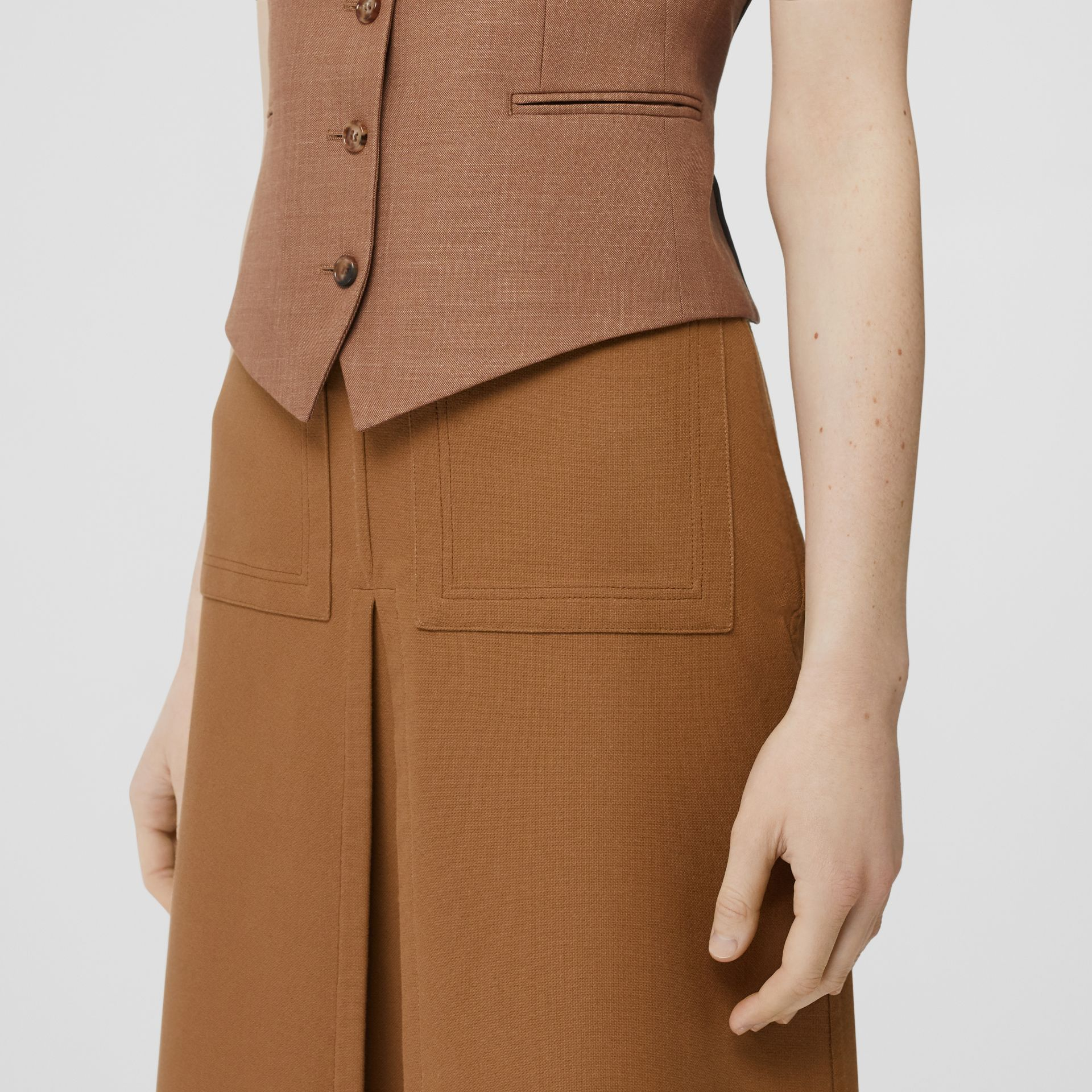 Box Pleat Detail Cotton A-line Skirt in Bronze - Women | Burberry - gallery image 1