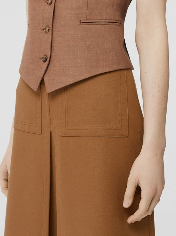 Box Pleat Detail Cotton A-line Skirt in Bronze - Women | Burberry - cell image 1