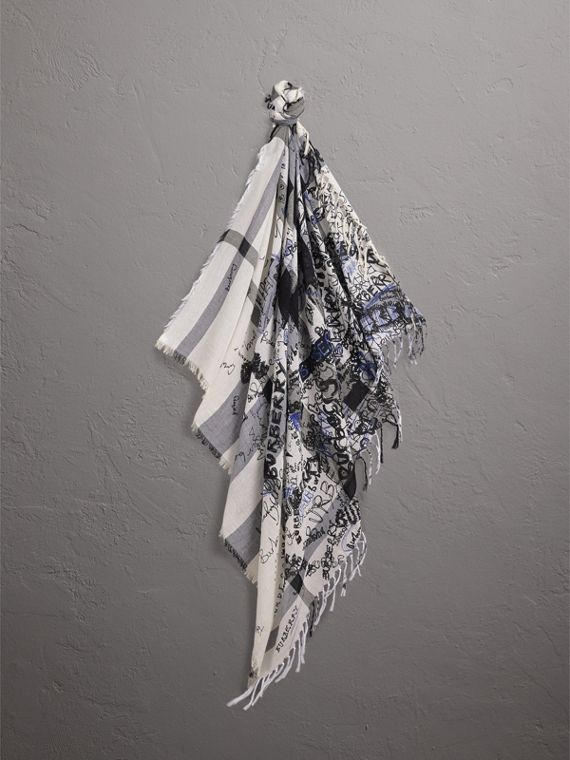 Doodle Print Check Silk Cotton Square Scarf in White/ink Blue | Burberry United States - cell image 3
