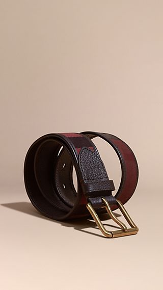Ceinture Canvas check en cuir