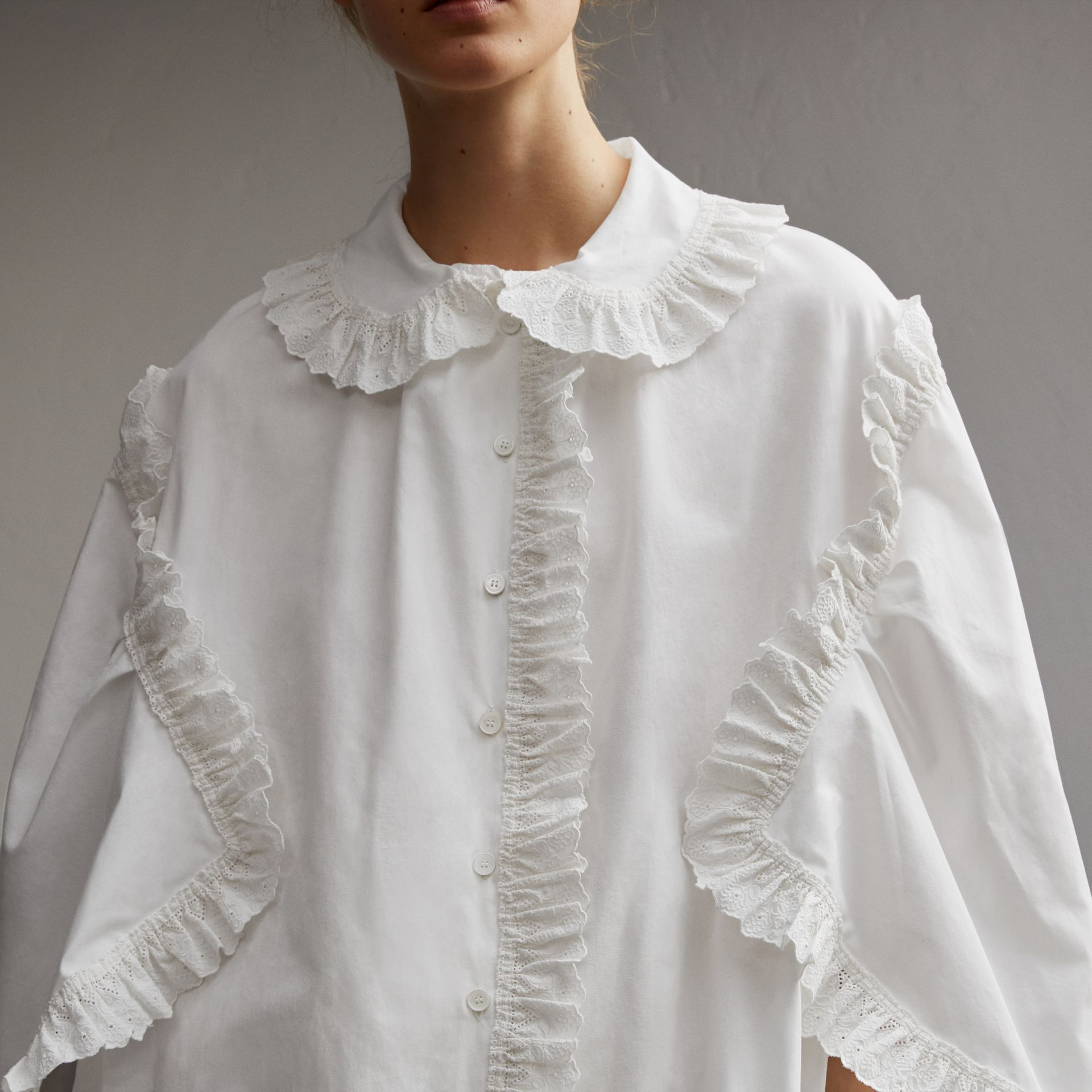 Broderie Anglaise Ruffle Cotton Poplin Shirt in White - Women | Burberry - gallery image 5