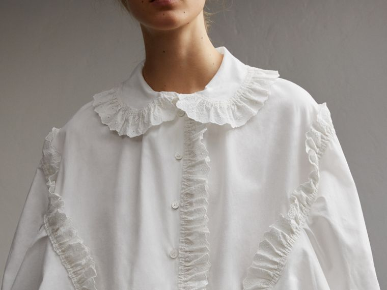 Broderie Anglaise Ruffle Cotton Poplin Shirt in White - Women | Burberry - cell image 4