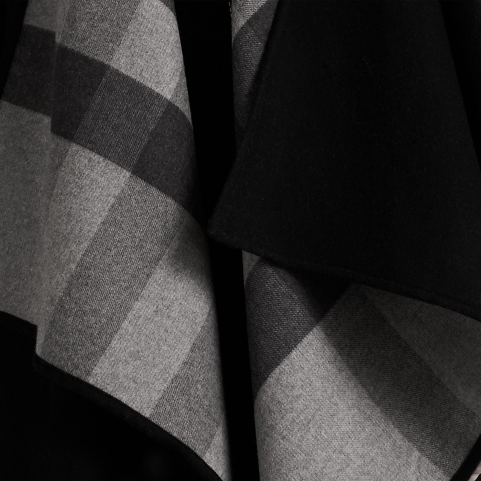 Check-Lined Wool Poncho in Charcoal - Women | Burberry - gallery image 1
