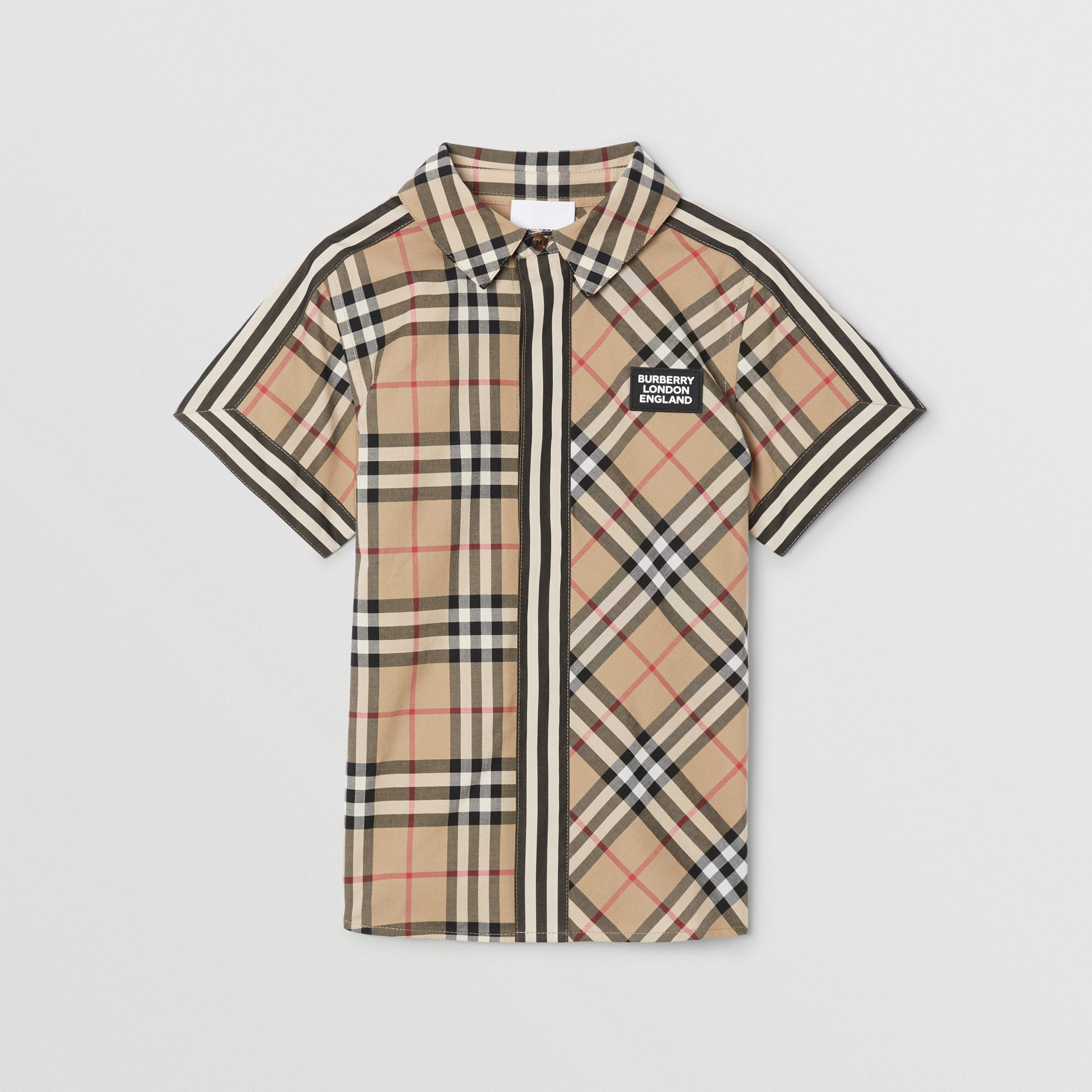 Short-sleeve Vintage Check Patchwork Cotton Shirt in Archive Beige | Burberry United Kingdom - gallery image 0
