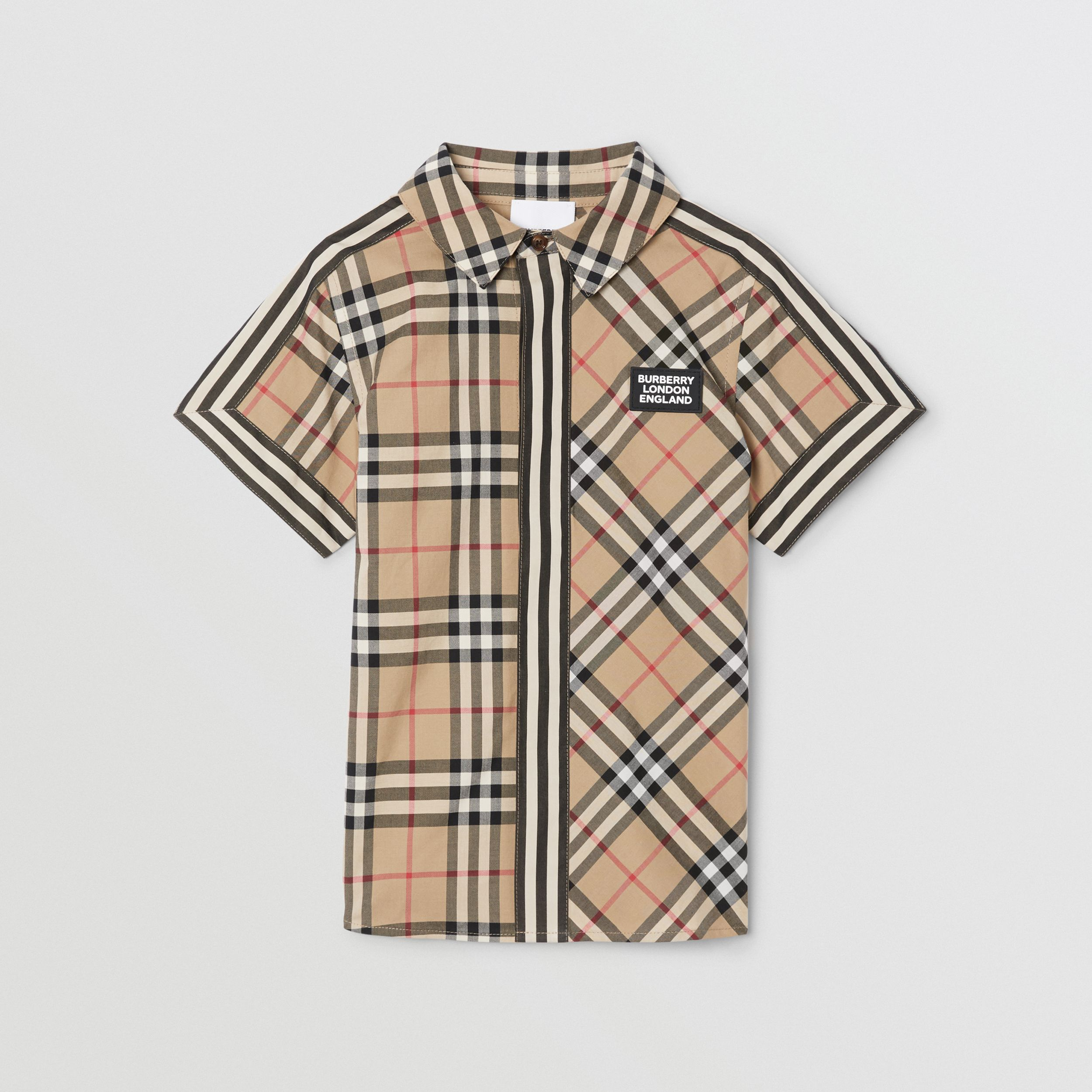 Short-sleeve Vintage Check Patchwork Cotton Shirt in Archive Beige | Burberry - 1